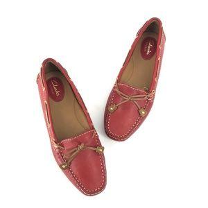 Women's Clarks Dunbar Racer Red Leather Loafer